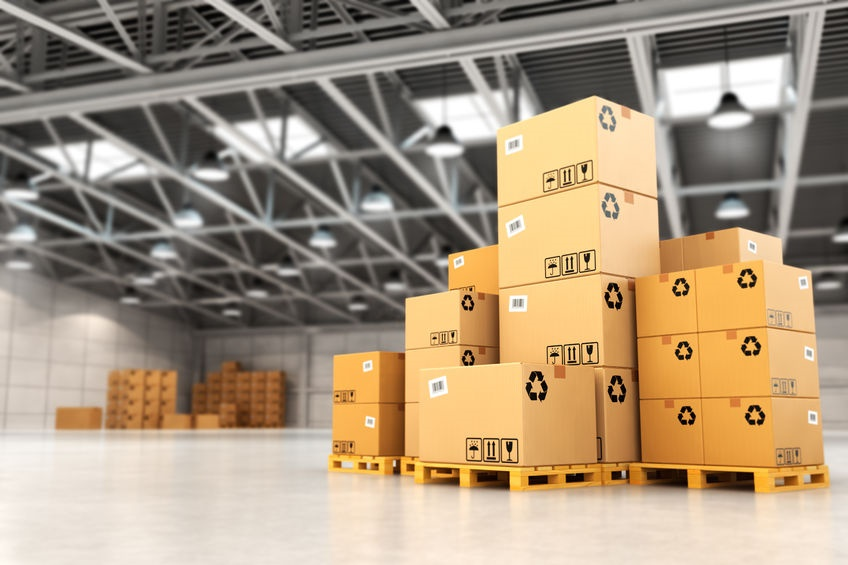 39385269 - delivery concept. boxes on pallet in the warehouse. 3d